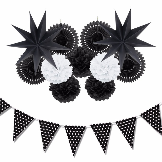 Black And White Theme Party Decoration Paper Fan Pompoms Decor Home Supplies Hanging Ideas For