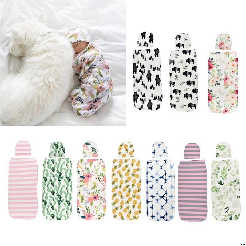 Baby Swaddle Blanket +Cap Newborn Cocoon Wrap Cotton Swaddling Bag Sack Bedding