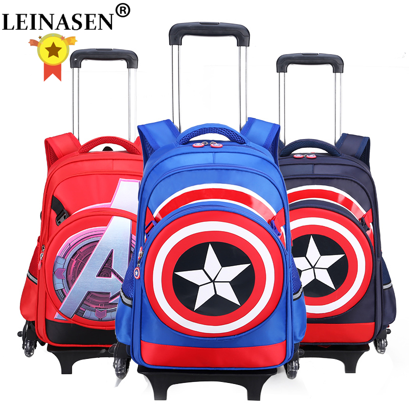 Children Travel Luggage Rolling-Suitcase Captain-America Backpack School-Bag Cartoon