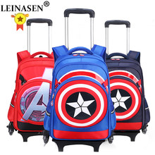 Climb the stairs luggage cartoon Boy school bag students rolling suitcase Children Travel backpack Captain America shoulde(China)