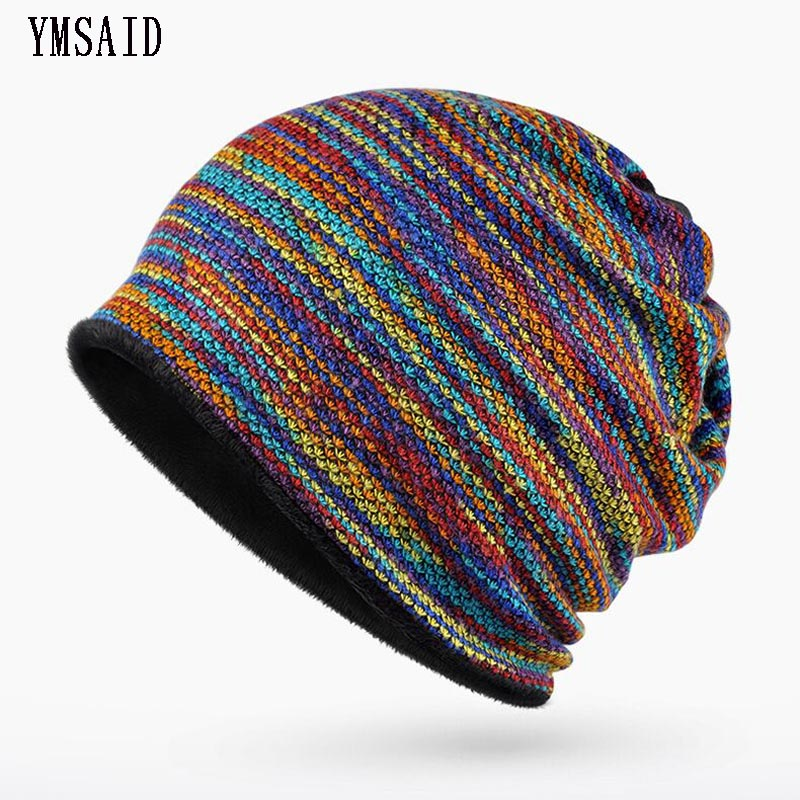 Brand Winter Hats For Men Women   Beanie   Rainbow Striped Knit Cap Bonnet   Skullies     Beanies   Gorro Hedging Cap Thicker Hat Keep Warm