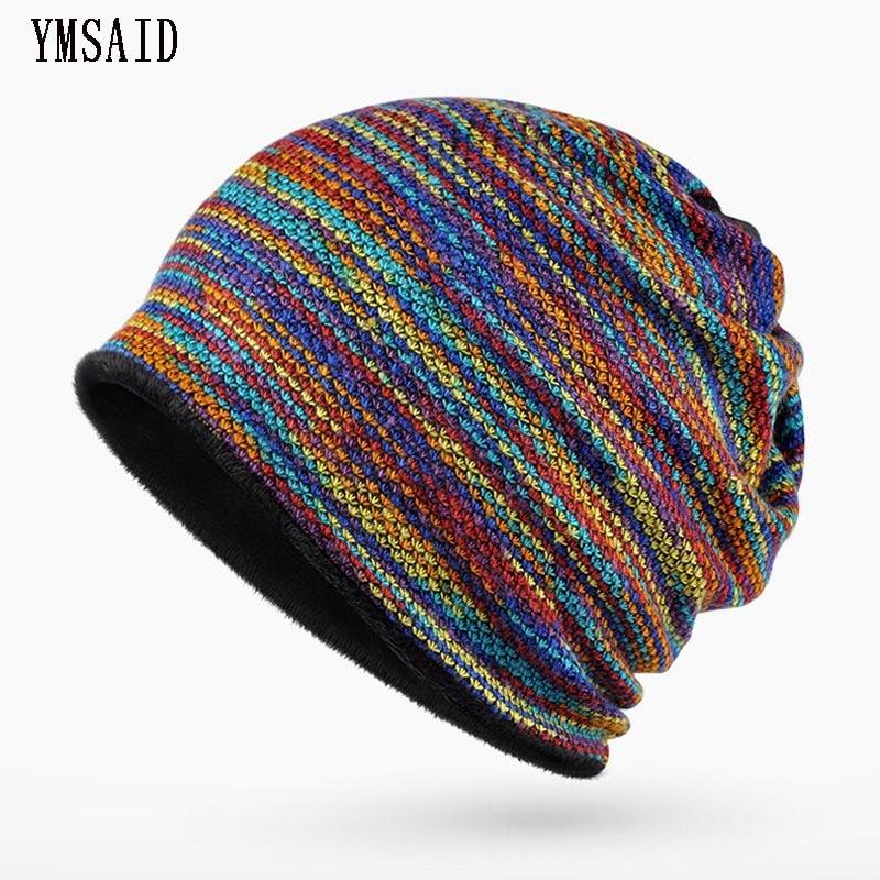 Brand Winter Hats For Men Women   Beanie   Rainbow Striped Knit Cap Bonnet   Skullies     Beanies   Gorro Hedging Cap Thicker Hat Keep Warm