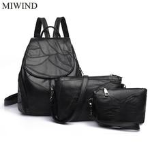 Miwind Для женщин рюкзак Настоящая кожа Рюкзаки softback Сумки Производитель мешок овчины Рюкзаки Meninas рюкзак WUB070