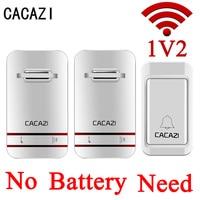 CACAZI White No Battery Need Wireless DoorBell Waterproof Smart Door Bell EU US Plug Cordless Ring