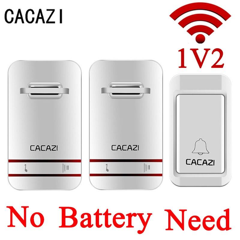 CACAZI blanco No necesita batería timbre inalámbrico impermeable campana de puerta inteligente EU/ee.uu. plug inalámbrico anillo timbres AC remoto 110 V-220 V