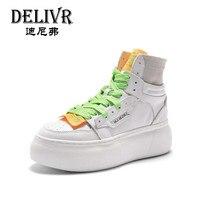 Delivr/Женские повседневные кроссовки с высоким берцем; женская повседневная обувь; ботинки с массивным каблуком; модные кроссовки на платфор