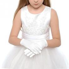 1 пара, новинка, Лидер продаж, детские перчатки, белые этикеты, перчатки, Короткие атласные на ощупь, для мальчиков, держащих букет невесты, для выступлений, для девочек, танцевальные эластичные перчатки