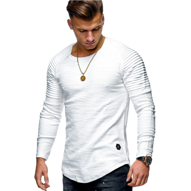 Round Neck Slim Solid Color Long-sleeved T-shirt Striped Fold Raglan Sleeve Style T shirt Tops Tees