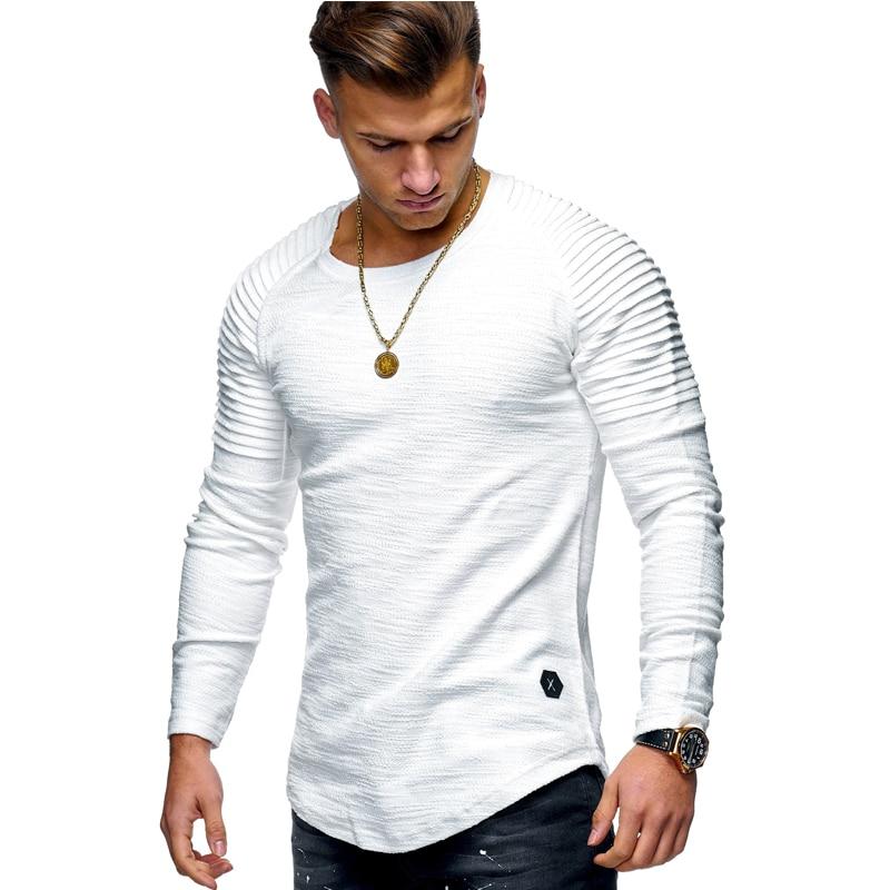 2018 nueva moda cuello redondo delgado de Color sólido de manga larga Camiseta rayas plegado estilo manga raglán T camisetas T109