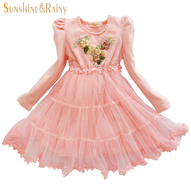 Teen Dress Brand Girls Dress Embroidery Long Sleeve Lace Tutu Princess Dresses Cotton Kids Costume Teenage Girls Clothes 3-10Y