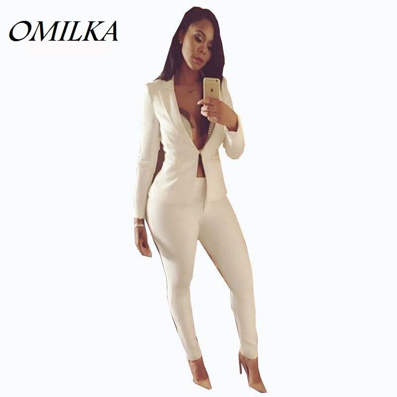 Women Blazers Pants 2015 Hot Autumn White Ladies Office Wear Suit Casual Long Sleeve Single Breasted Blazer + Pant 2 Piece Set