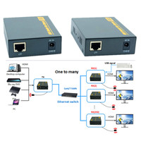 150m Network KVM HDMI Extender Over TCP IP With 20~60 KHz IR 1080P USB 2.0 HDMI KVM Extender Via RJ45 Cat6/7 Cable Up To 500ft