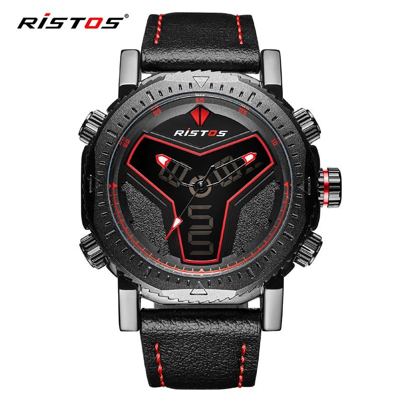 цена на RISTOS Digital Led Quartz Analog Sport Men Watches Auto Date Week Alarm Leather Wristwatches Backlight Chronograph Montres 9341