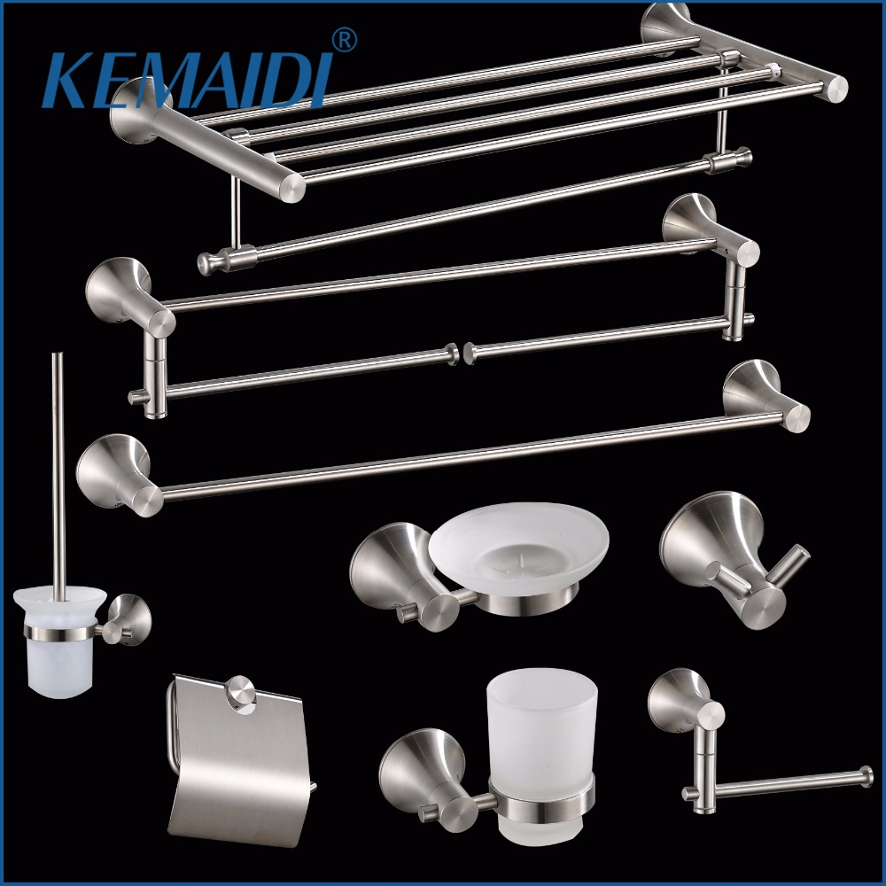 KEMAIDI Towel Bar,Cloth Hook Nickel Brushed Paper Holder Bath Hardware Sets Cup Holder 304 Stainless Steel Bathroom Accessories nickel brushed 304 stainless steel next bathroom accessories set single towel bar cloth hook paper holder bath hardware sets