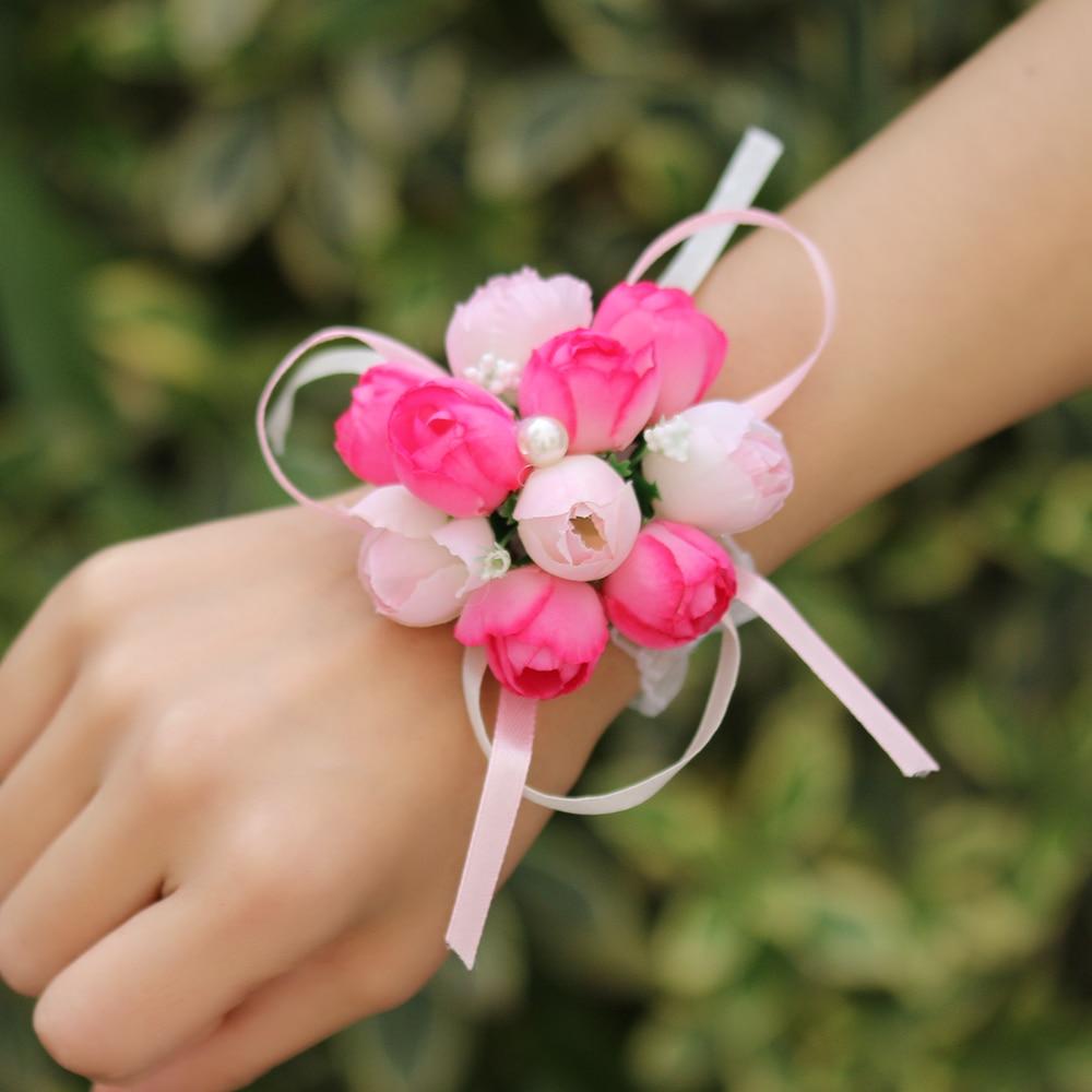 1pc Beautiful Rose Flower Bridal Wedding Wrist Flower Hot Colorful