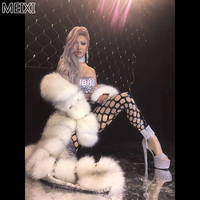 Silver personalized leather jumpsuit artificial fur long cape suit bar birthday party concert singer dancer costume