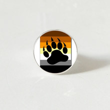 Bear Pride Ying Yang with Paw Gay Pride Photo Charm rings Handmade Glass Dome Gay Rings(China)