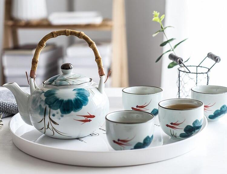 Conjunto de cerâmica goldfish bule de chá