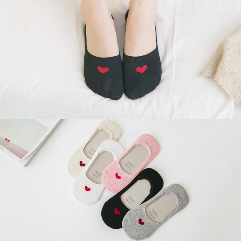 5 Pair/Lot Candy Color Non-slip Silicone Women Invisible Sock Slippers Cotton Shallow Mouth Heart Socks Spring Summer Hot Sell