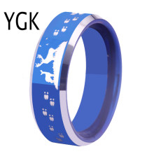 New Fashion Blue Color Buck and Doe Tracks Wedding Ring for Woman Deer Hunting Design Engagement Parry Ring Men Tungsten Jewelry(China)