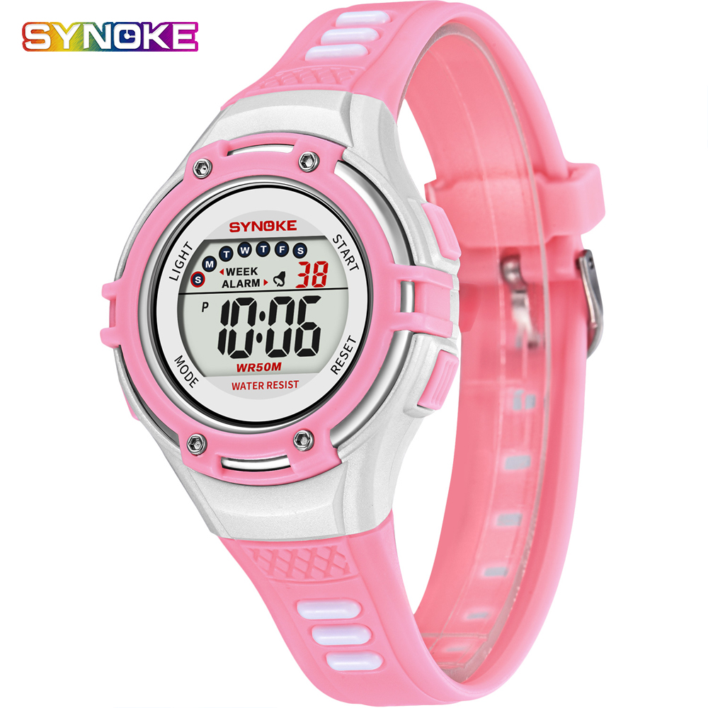 SYNOKE Watch Kids Fashion 50M Waterproof Student Children Watch Digital LED Alarm Date Casual Sport Watches For Boys Girls Reloj