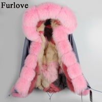 Gray Pink Silver Black Coats Natural Fox Fur Parka Detachable Real Fur Jackets Warm Thick Hooded
