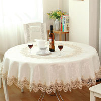 Big sale European Garden embroidered Round tablecloth dining table cover for wedding cabinet cushion package elegant table cloth
