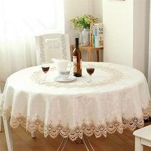 Gran venta de Jardín Europea bordado mantel Redondo comedor gabinete paquete cojín elegante del paño de tabla cubierta de tabla para la boda
