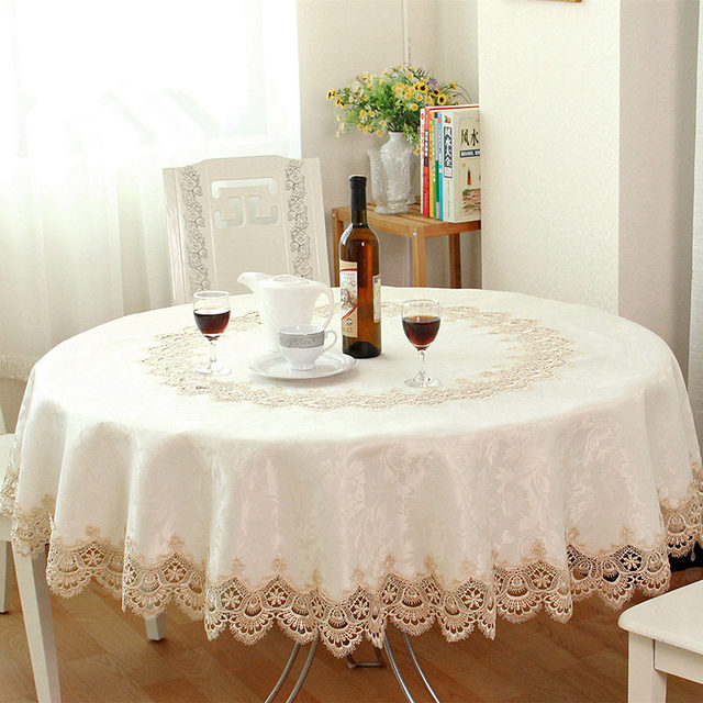 Big Sale European Garden Embroidered Round Tablecloth Dining Table