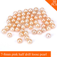 FREE SHIPPING, Beautiful 7 8mm AAA Pink saltwater half drill round akoya pearls 30pcs for fitting Jewelries