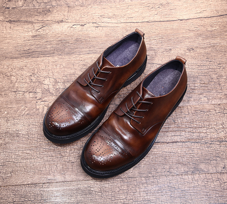 high quality fashion 2018 casual leather shoes derby shoes men spring autumn driving oxfords genuine leather carved shoes vixleo men shoes new spring and autumn casual fashion safety oxfords breathable flat footwear pu leather waterproof shoes men