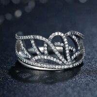 Zmzy 100% 925 sterling zilveren kroon ring voor vrouwen liefde bruiloft sieraden micro pave zirconia