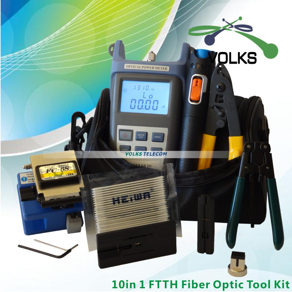 10 In 1 Fiber Optic FTTH Tool Kit with FC-6S Fiber Cleaver and Optical Power Meter 10Mw Visual Fault Locator