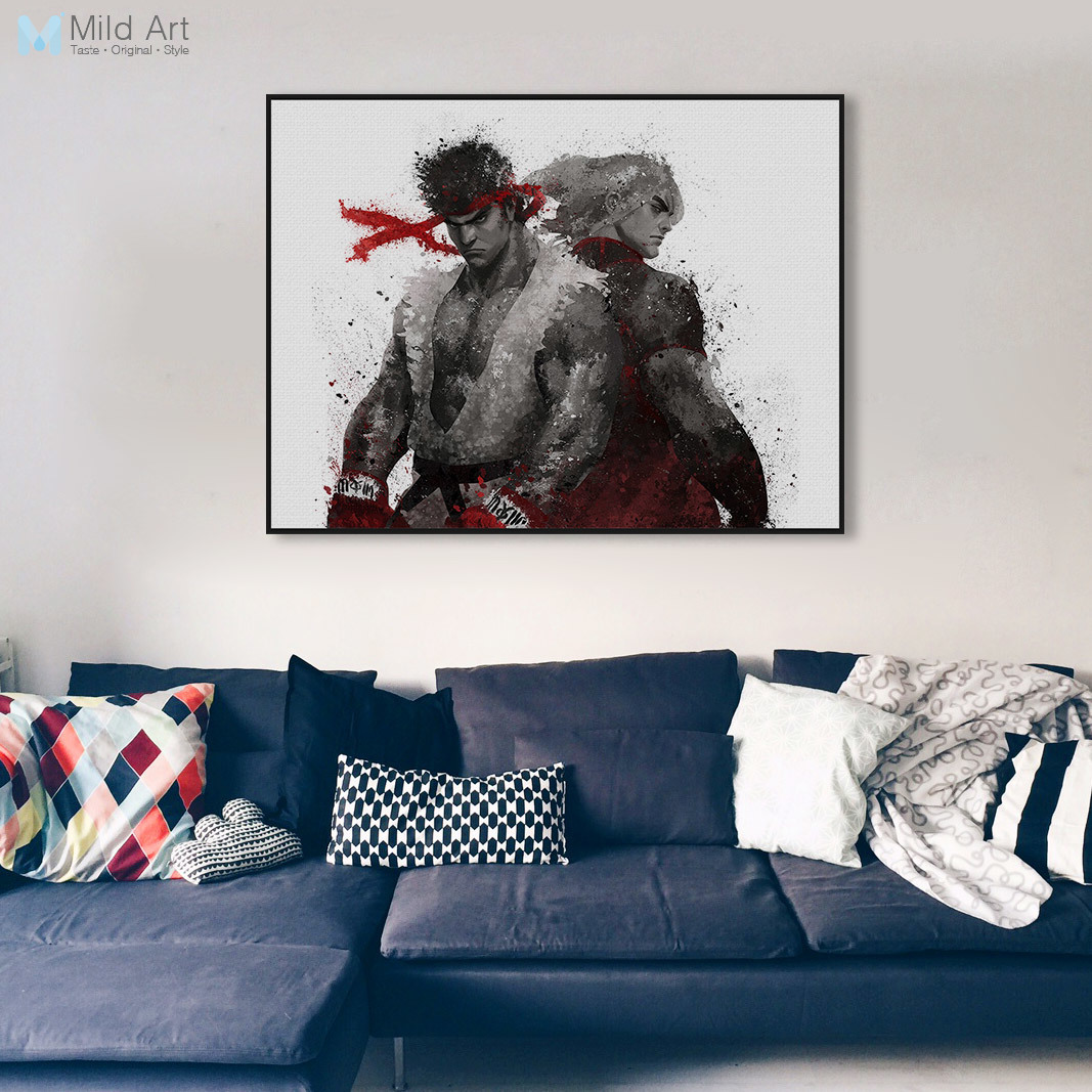 Modern Watercolor Japanese Game Street Fighter Poster Print Nordic