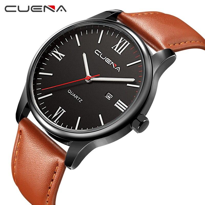 CUENA Fashion Men Quartz Wrist Watch Mens Watches Top Brand Luxury Genuine Leather Waterproof Man Wristwatches Relogio Masculino 5