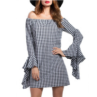 CharMma 2017 Autumn New Women Dress Off The Shoulder Bell Sleeve Checked Plaid Mini Dress Sexy