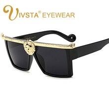 IVSTA Steampunk Sunglasses Men Gold 3D Lion Head Brand Desig