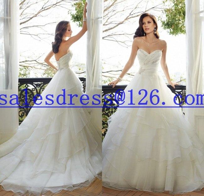 Vestido De Noiva A Line Ruffles Wedding Dress 2015