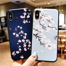 Soft TPU 3D Reliefs Flower Phone Case For iphone XS Max XR X 6 7 8 Plus Back Cover Colorful Cartoon Cases