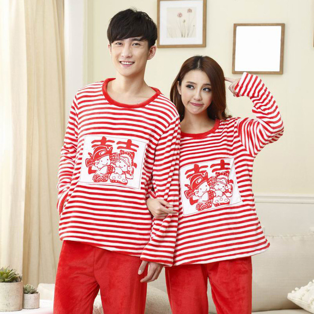Autumn and winter new double happiness bride and groom thickening flannel red pajama suit wedding gift pajamas