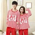 El otoño y el invierno nuevo doble felicidad de la novia y el novio de regalo de boda traje de pijama pijamas de franela engrosamiento rojo
