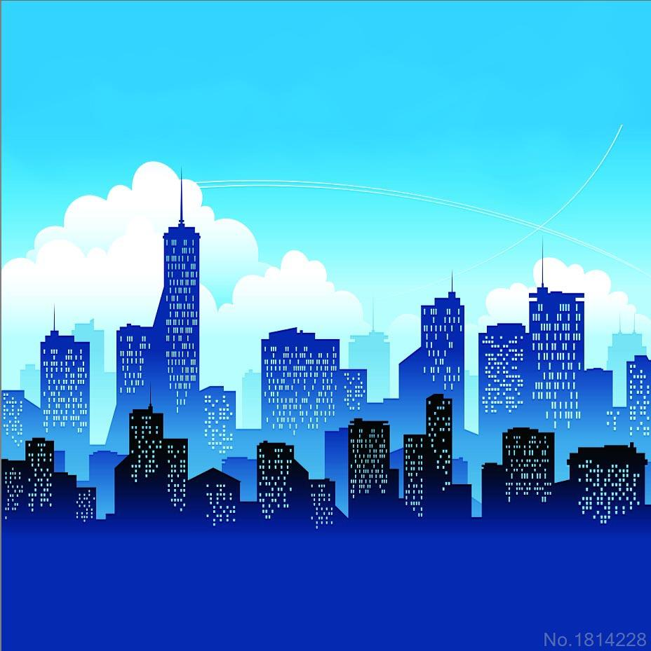 Journal Foto And Wallpaper Building: 3x5FT Cityscape Skyscraper Cartoon Downtown City Buildings
