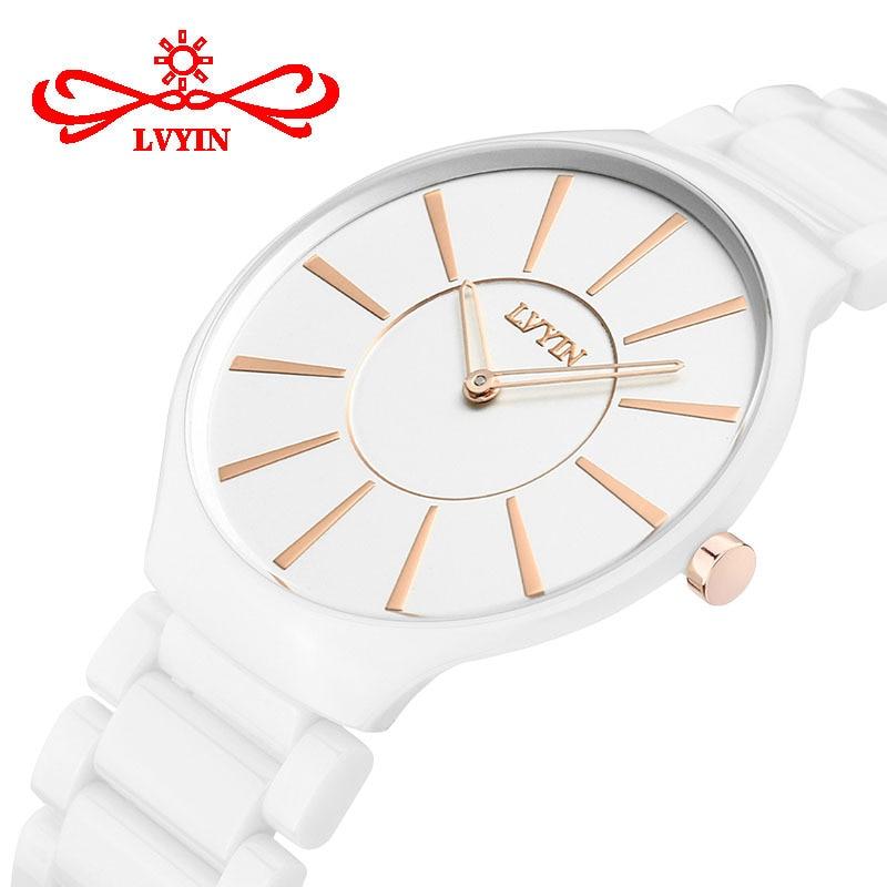 Casual Women Watch Ceramic Black White Luxury Woman Lvyin Brand Watches Waterproof Quartz Ladies Wristwatch