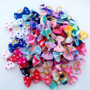 (5 pieces/lot) Cute Ribbon Puppy Medium Small Dog Hair Bows 30 Colors Pet Hair Accessories Pentagram Flower Pattern Dog Bows 1