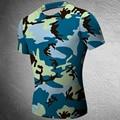 Compressão camisas camuflagem crossfit camisa homens fitness calças t-shirt de musculação tops workout base layer marca clothing masculino