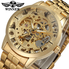 Fashion WINNER Men Luxury Brand Gold Skeleton Stainless Steel Watch Automatic Mechanical Wristwatches Gift Box Relogio Releges