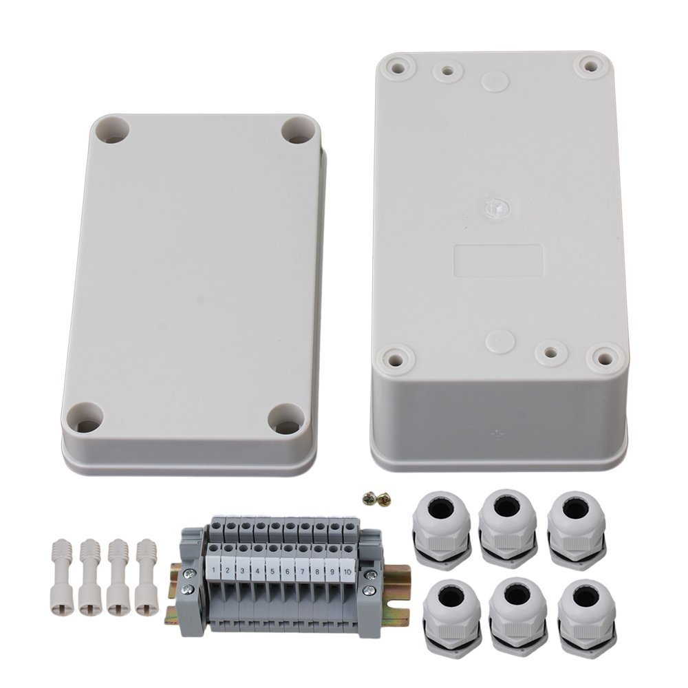 130x80x70mm  White Plastic Waterproof Electrical Junction Box 10 Position 3 In 3 Out Terminals Enclosure Case with 6 PG11 Co 2015 ip66 electrical aluminium enclosure waterproof box 300 210 130 with 4 screws