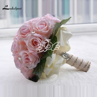 Stock Artificial Bride Hands Holding Rose Flower White Pink Red Bridal Bouquet Wedding Accessory