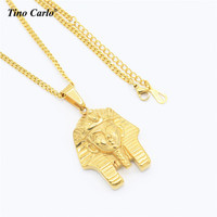 Tino Carlo New Hip Hop Phi Necklace Thép Không Gỉ Màu Vàng 3D Pharaoh Necklace R & B Vòng Cổ Người Đàn Ông Hộp Đêm mát Necklace