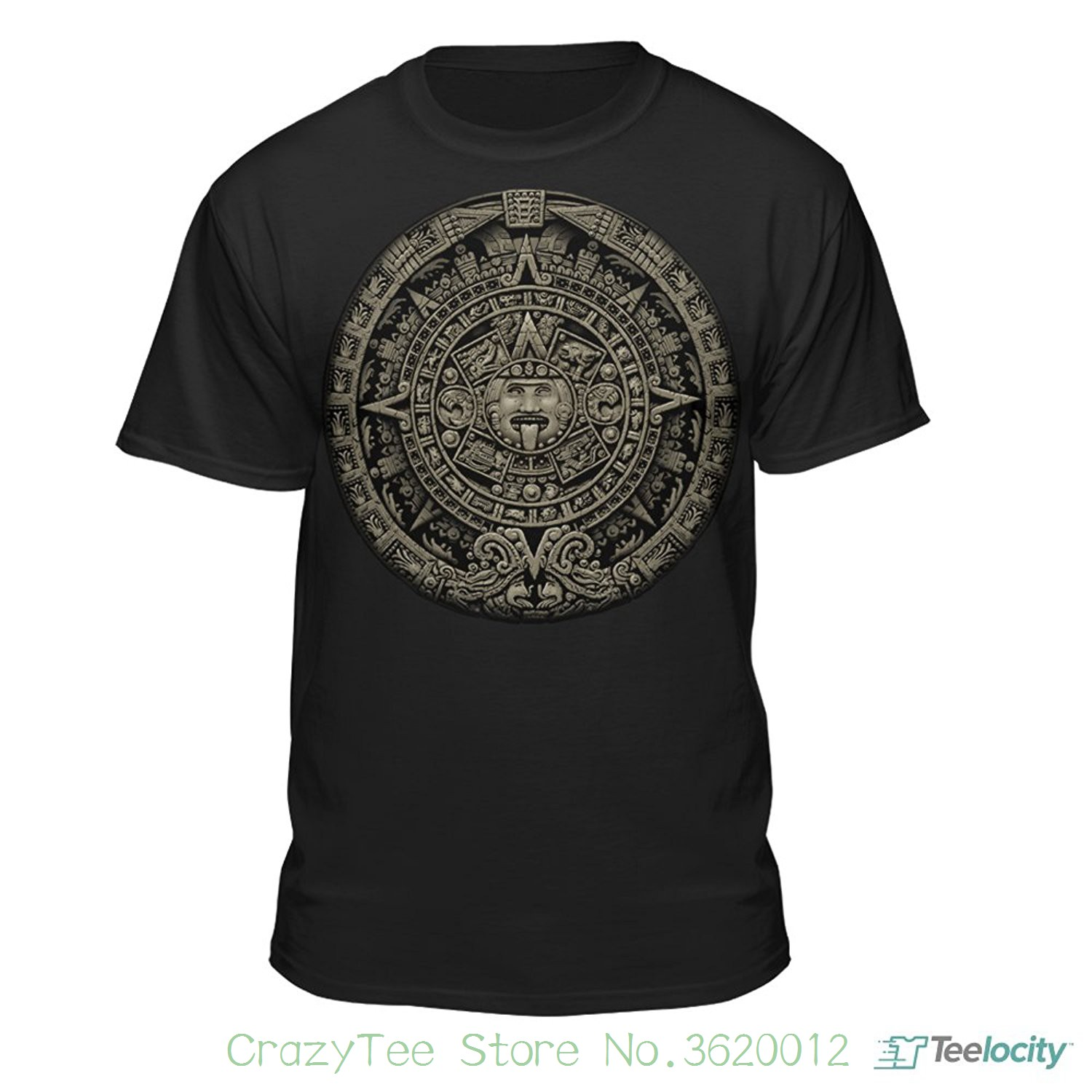 e62091d92 100% Cotton Short Sleeve Summer T-shirt Aztec Calendar Sun Stone Mexican  Art Carving